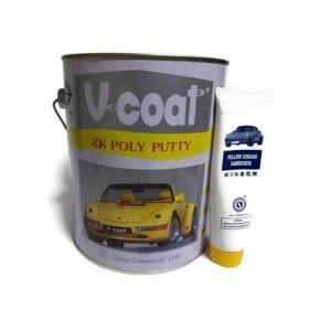 สีโป๊วเหลือง V-COAT 2K Poly Putty 3.7 กก.