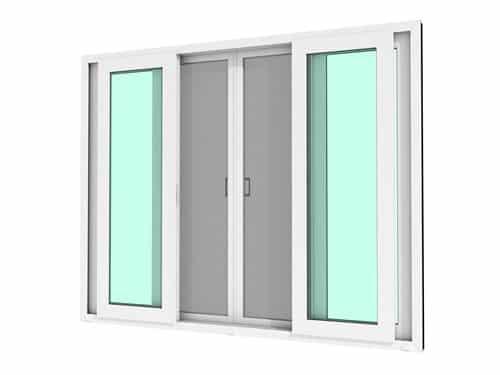หน้าต่างบานเลื่อน 4 บาน WINDSOR รุ่น SMART กระจกเขียวใส 5 มม.+มุ้งลวด