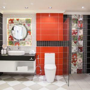 Amelie Cotto ห้องน้ำลายดอกไม้ สไตลโมเดิร์น ขนาด 2.5x3x2.4 ม.