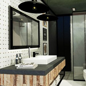Neo marble ห้องน้ำลายหินอ่อน สไตลโมเดิร์น ขนาด 2x3x2.4 ม.