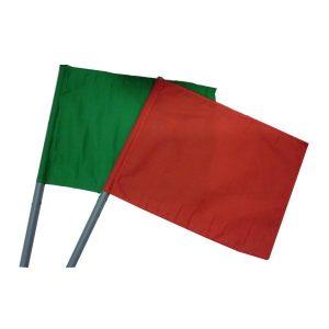 ธงโบกคู่ เขียว-แดง พร้อมมือจับ