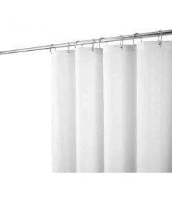 J101S#WH(SET) ผ้าม่านกั้นอาบ ยูนิขาว(S) พร้อมราวสแตนเลส