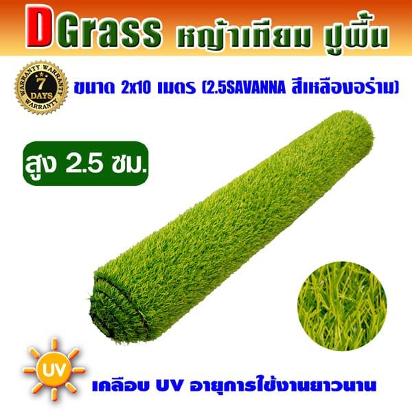 Dgrass หญ้าเทียมปูพื้น ตกแต่งสวน รุ่น DG-2.5S (สีเหลืองอร่าม)ขนาด2x10เมตร