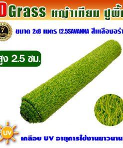 Dgrass หญ้าเทียมปูพื้น ตกแต่งสวน รุ่น DG-2.5S (สีเหลืองอร่าม)ขนาด2x8เมตร