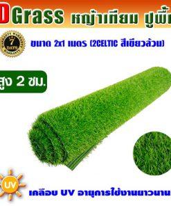 Dgrass หญ้าเทียมปูพื้น ตกแต่งสวน รุ่น DG-2C (สีเขียวล้วน)ขนาด2x1เมตร