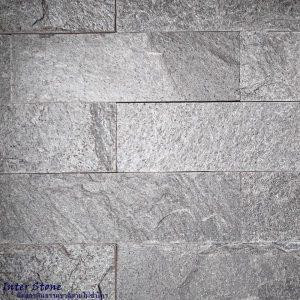 หินตกแต่งผนัง ควอตไซต์ซิลเวอร์เกรย์ Silver Grey Quartzite 6x20 ซม.