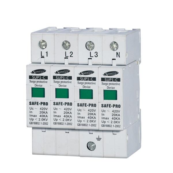 AC Surge Protection ตัวป้องกันฟ้าผ่า Suntree AC 3 เฟส 4 pole