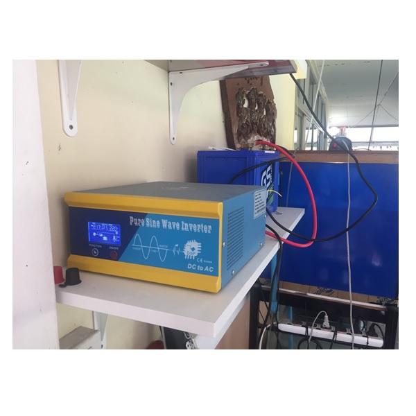 การใช้อินเวอเตอร์เพียวซายแบบหม้อแปลง รุ่น LI สำรองไฟปั๊มลม 01