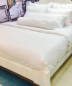 ผ้าปูที่นอนเกรดเอ สีขาว ผ้า Cotton 100% ลายริ้ว