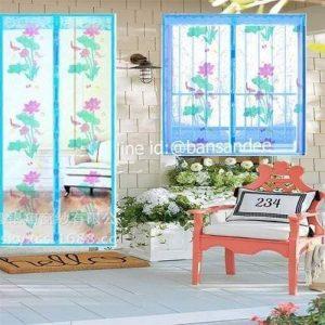 ม่านมุ้งลวดประตู-หน้าต่างกันยุง สีฟ้าลายดอกไม้