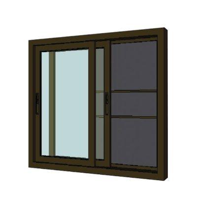 หน้าต่างบานเลื่อนอลูมิเนียม 120x100 ซม. สีชา+มุ้ง