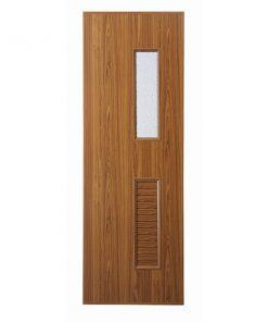 ประตู UPVC แบบบานเกล็ดช่องลมล่าง กระจกบน U14 ตรา JF