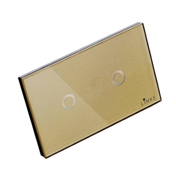 สวิตช์ไฟระบบสัมผัสสีทองแบบ2ปุ่ม ขนาด 2x4 นิ้ว ทางเดียว (One Way)