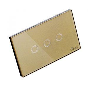 สวิตช์ไฟระบบสัมผัสสีทอง แบบ3ปุ่ม ขนาด 2x4 นิ้ว ทางเดียว (One Way)