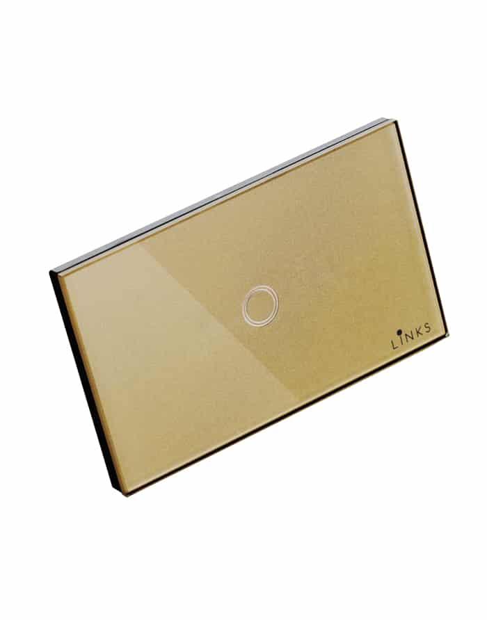 สวิตช์ไฟระบบสัมผัสสีทองแบบ1ปุ่ม ขนาด 2x4 นิ้ว ทางเดียว (One Way)