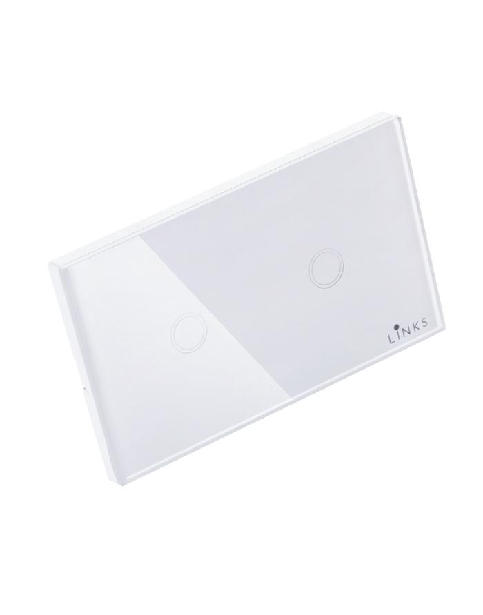 สวิตช์ไฟระบบสัมผัสสีขาวแบบ2ปุ่ม ขนาด 2x4 นิ้ว ทางเดียว (One Way)