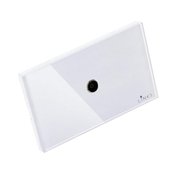 เต้ารับสัญญาณโทรทัศน์กรอบกระจกสีขาว ปลั๊กโทรทัศน์ 2x4 นิ้ว