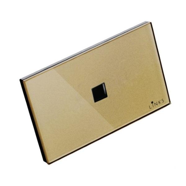 เต้ารับคอมพิวเตอร์กรอบกระจกสีทอง เต้ารับ LAN ขนาด 2x4 นิ้ว
