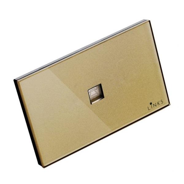 เต้ารับโทรศัพท์กรอบกระจกสีทอง ขนาด 2x4 นิ้ว