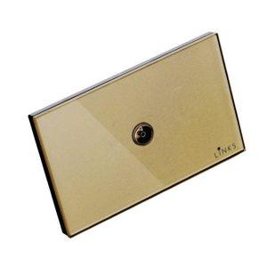 เต้ารับสัญญาณโทรทัศน์กรอบกระจกสีทอง ปลั๊กโทรทัศน์ 2x4 นิ้ว