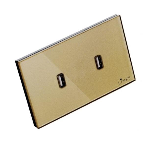 เต้ารับ USB กรอบกระจกสีทอง แบบ 2 ช่อง 2.1A ปลั๊กผนัง USB