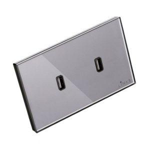 เต้ารับ USB กรอบกระจกสีเทา แบบ 2 ช่อง 2.1A ปลั๊กผนัง USB