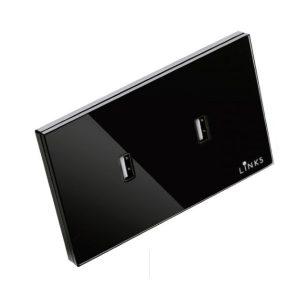 เต้ารับ USB กรอบกระจกสีดำ แบบ 2 ช่อง 2.1A ปลั๊กผนัง USB