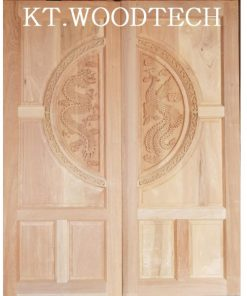 ประตูไม้ตะแบก(บานคู่) แกะสลักลาย หงส์คู่มังกร