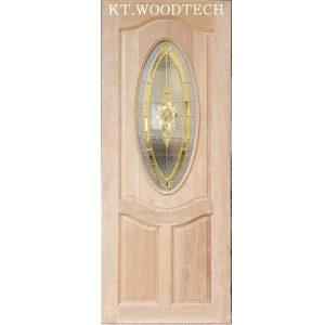 ประตูไม้ตะแบก กระจกOrchid01ทอง 80X200cm.