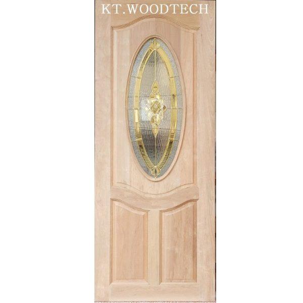 ประตูไม้ตะแบก กระจกOrchid01ทอง 80X200CM