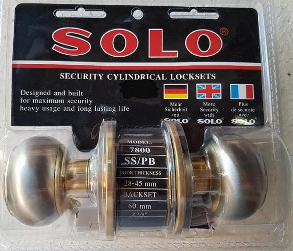 ลูกบิด ทั่วไปSOLO 7800 หัวจัน SS/PB สีเงินขอบสีทอง