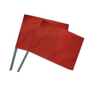 ธงโบกรถสำหรับงานก่อสร้าง (คู่) สีแดง พร้อมมือจับ