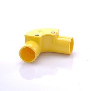ข้อต่อข้องอ90ฝาเปิด พีวีซี เอสซีจี ระบบร้อยสายไฟ สีเหลือง