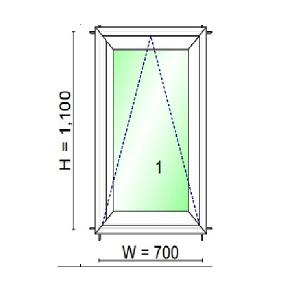 WINDSOR หน้าต่างบานกระทุ้ง ขนาด 700X1100 มม.