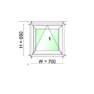 WINDSOR หน้าต่างบานกระทุ้ง ขนาด 700X650 มม.