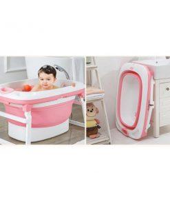 อ่างอาบน้ำเด็กรุ่นพับเก็บได้ สีชมพู