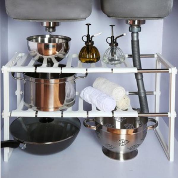 Selected ชั้นวางของใต้อ่างล้างจาน ชั้นวางของใต้ซิงค์น้ำ Kitchen Rack สีขาว