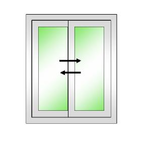 DREAMWORKS หน้าต่างบานเลื่อนคู่(เลื่อนสลับ) ขนาด 1500x1100 มม.พร้อมมุ้งลวด สีดำ