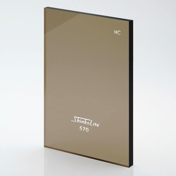 หลังคาอะคริลิก Shinkolite สีน้ำตาล570 รุ่นHeat Cut Sheet