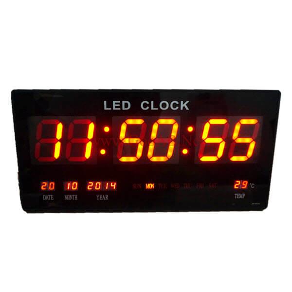 นาฬิกาLEDติดฝาผนังแบบบาง ขนาด18นิ้ว ไฟสีแดง JH4622