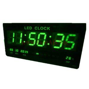 นาฬิกาLED ติดฝาผนังแบบบาง ขนาด18นิ้ว ไฟสีเขียว JH4622