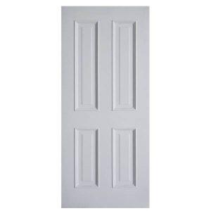 ประตูไม้ MDF ลูกฟัก 4 ตรง สีรองพื้นขาว 80x200 leowood