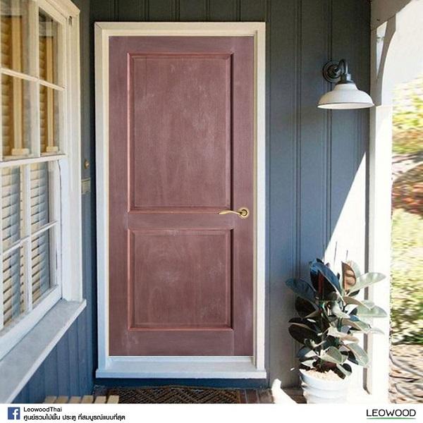 LeoDoor ประตูไม้สยาแดง ลูกฟัก 2 ตรง 80x200 leowood
