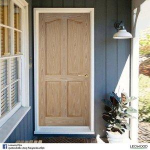 LeoDoor ประตูไม้สัก ลูกฟัก 4 โค้ง 80x200 leowood