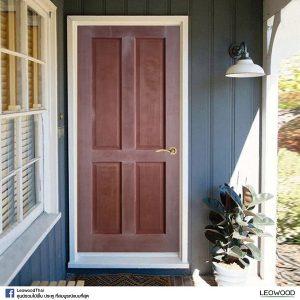 LeoDoor ประตูไม้สยาแดง ลูกฟัก 4 ตรง 90x200 leowood