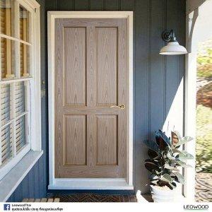 LeoDoor ประตูไม้สัก ลูกฟัก 4 ตรง 90x200 leowood