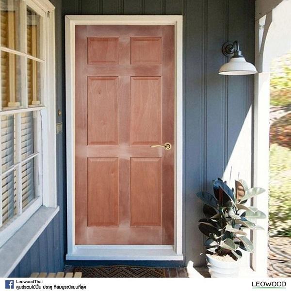LeoDoor ประตูไม้สยาแดง ลูกฟัก 6 ตรง 80x200 leowood