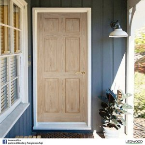 LeoDoor ประตูไม้สัก ลูกฟัก 6 ตรง 80x200 leowood