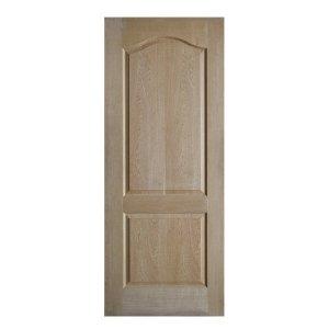ประตูไม้HDF ลูกฟัก 2โค้ง 90x200 Natural Oak