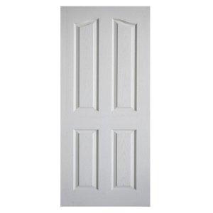 ประตูไม้ HDF ลูกฟัก4 โค้ง 90x200 ผิวลายไม้สีรองพื้นขาว